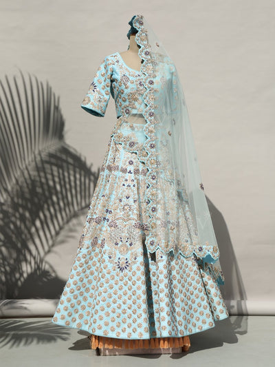 Lehenga, Lehenga set, Lahanga, Lahenga, Bridal, Raw silk, Raw silk lehenga, Silk lehenga, Wedding wear, Wedding outfit, Trousseau, Handcrafted, Heavy, Designer wear, Pastel, DD00, _label_NEW