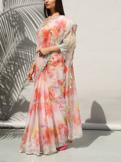 Off White Floral Organza Embellished Saree