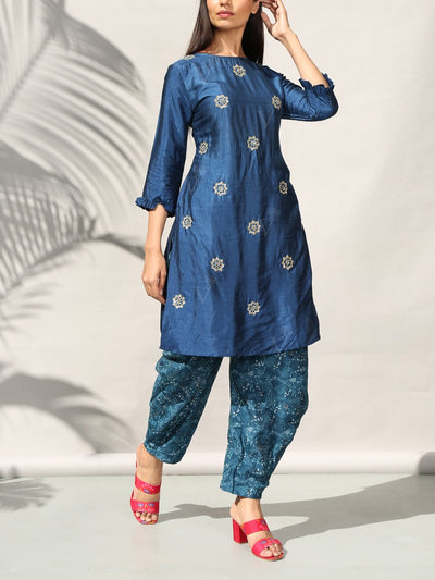 Blue Silk Kurta Set With Dhoti Pant