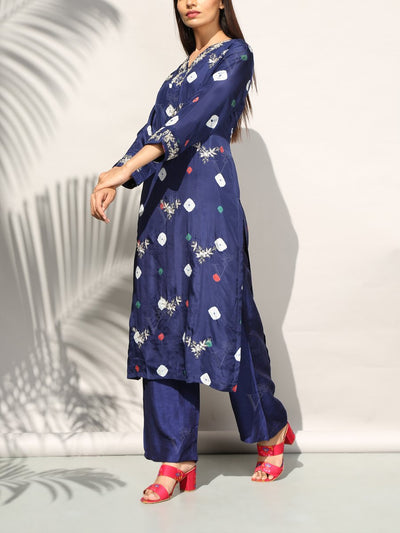 Mid Night Blue Bandhani Kurta Set
