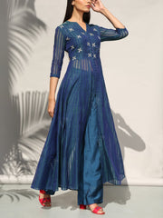 Palazzo set, Palazzo, Jacket, Sheer, Embroidered, Embellished, Stripes, Fusion wear, Indo western, DD00, _label_NEW