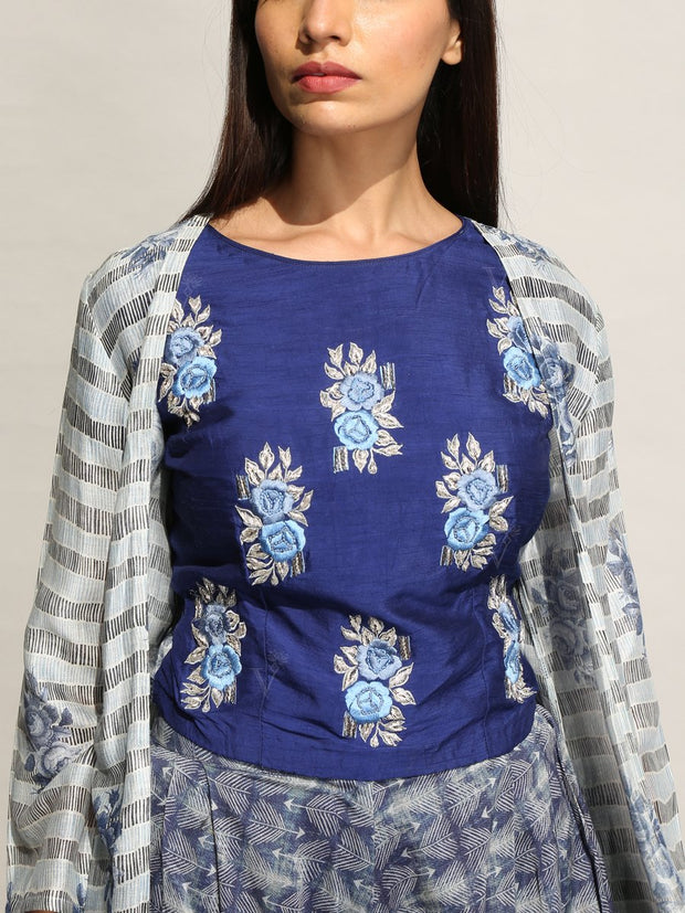 Blue Dhoti Pant with Printed Cape