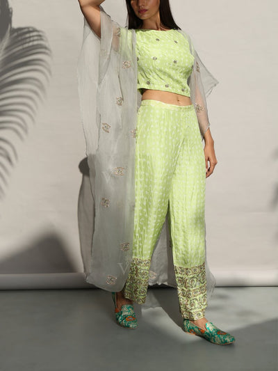 Light Green Bandhani Crop Set With Organza Cape