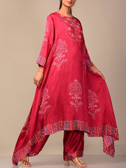 Scarlet Red Bandhani Kurta Set