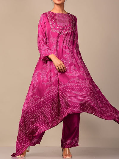 Purple Silk Bandhani Kurta Set
