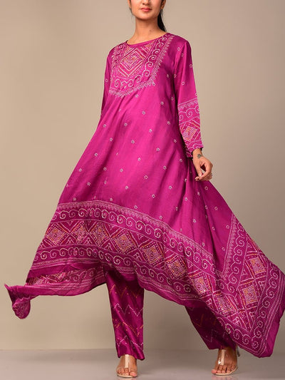 Purple Bandhani Kurta Set