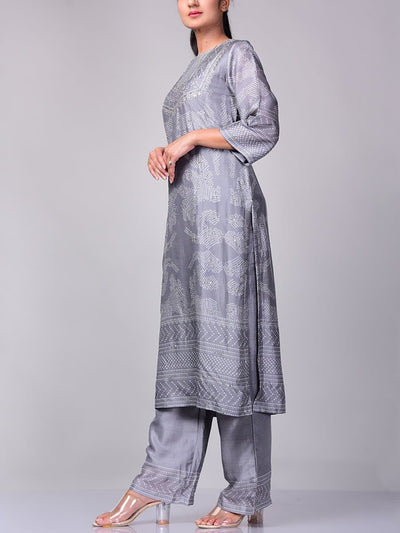 Grey Bandhani Kurta Set