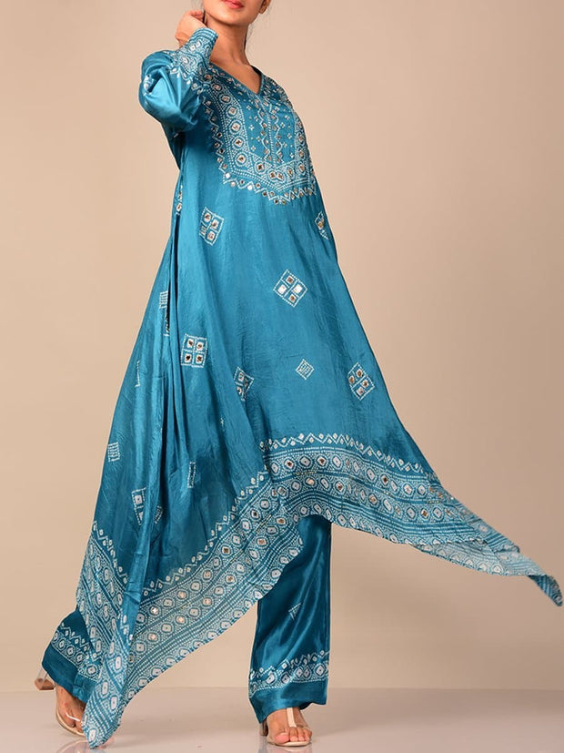 Bright Blue Bandhani Kurta Set