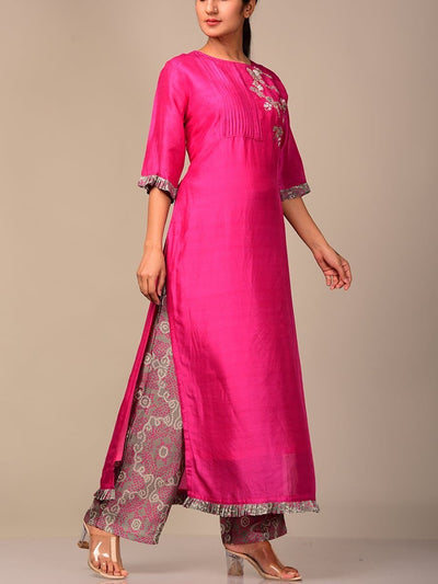 Pink And Grey Kurta Set
