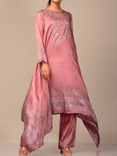 Light Mauve Bandhani Kurta Set