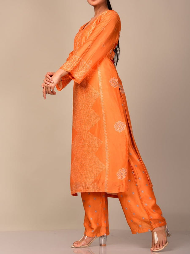 Orange Bandhani Printed Kurta Set
