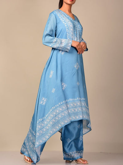 Light Blue Bandhani Kurta Set