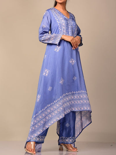 Blue Bandhani Kurta Set