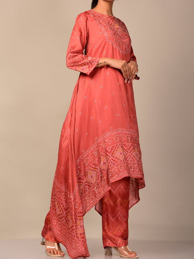 Light Coral Bandhani Kurta Set