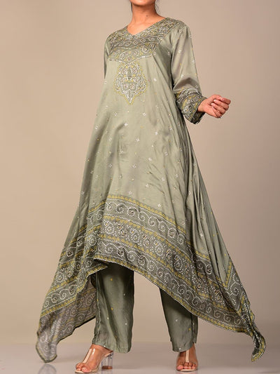Light Olive Green Bandhani Kurta Set
