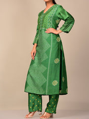 Green Bandhani Kurta Set