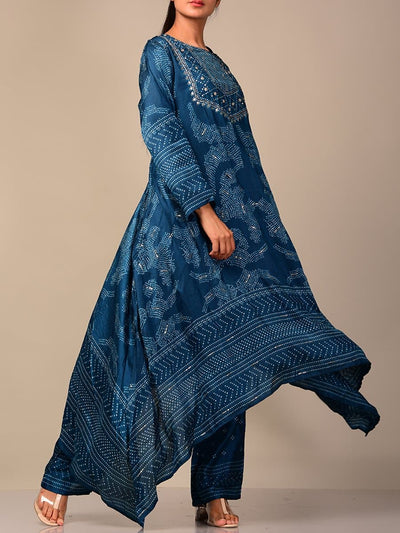 Blue Bandhani Silk Blend Kurta Set