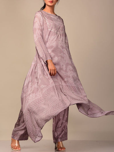 Light Grey Bandhani Kurta Set