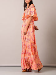 Peach Off Shoulder Printed Dress