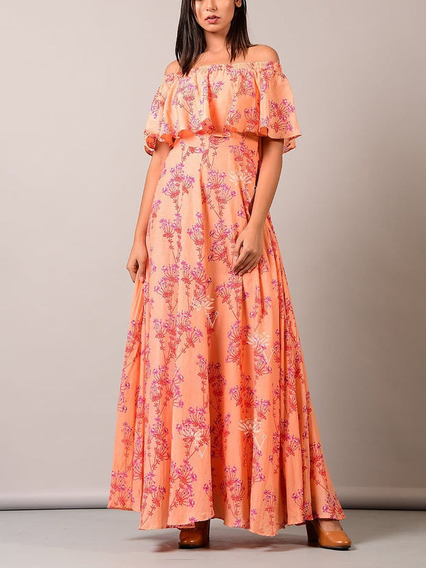 Dress, Long dress, Gown, Off shoulder, Western, Printed, Ruffles, Tiered