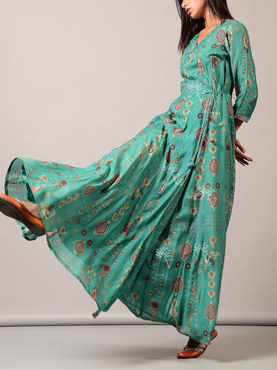 Turquoise Green Angrakha Long Gown