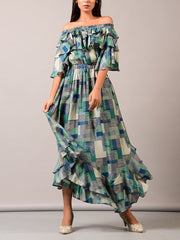 Dress, Off shoulder, Ruffles, Tiered, Western, Printed, Color block, Summer outfit