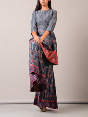 Grey Printed Sharara Set