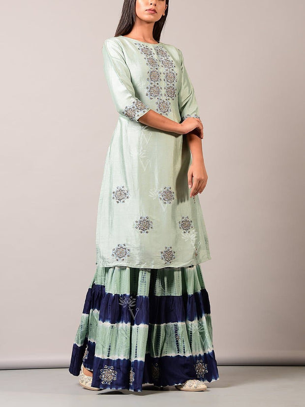 Blue Indigo Printed Sharara Set