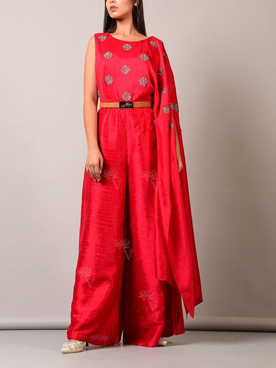 Red One Shoulder Silk Jumpsuit