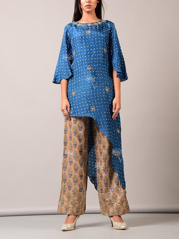 Indo western, Fusion wear, Asymmetric, Top, Printed, Embroidered, Party wear, Designer wear