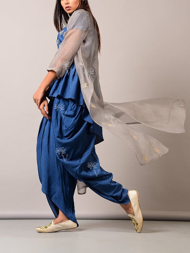 Blue Dhoti Pant With Peplum And Jacket