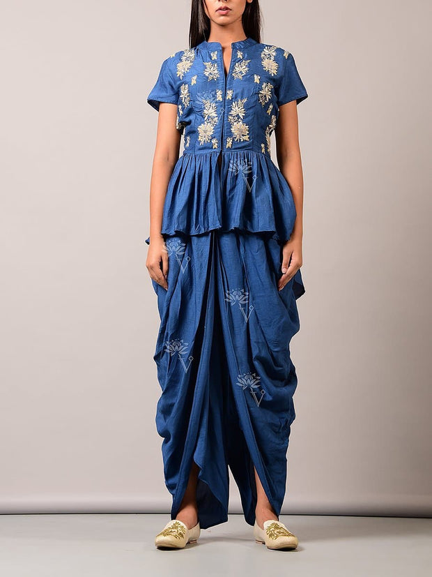 Indo western, Fusion wear, Printed, Embroidered, Party wear, Designer wear, Cape, Jacket, Organza, Dhoti pant