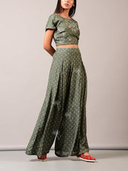 Mehendi Green Palazzo With Organza Jacket