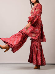 Pink Embroidered Sharara Set