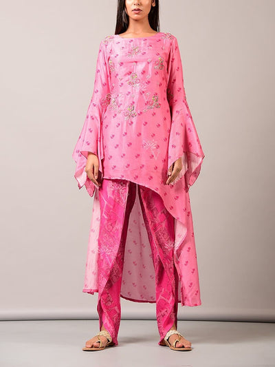 Indo western, Fusion wear, Asymmetric, Top, Printed, Embroidered, Party wear, Designer wear, Cape, Jacket, Organza, Dhoti pant