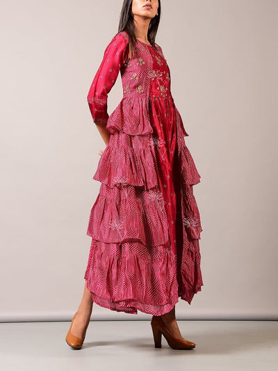 Pink Printed Tiered Dress