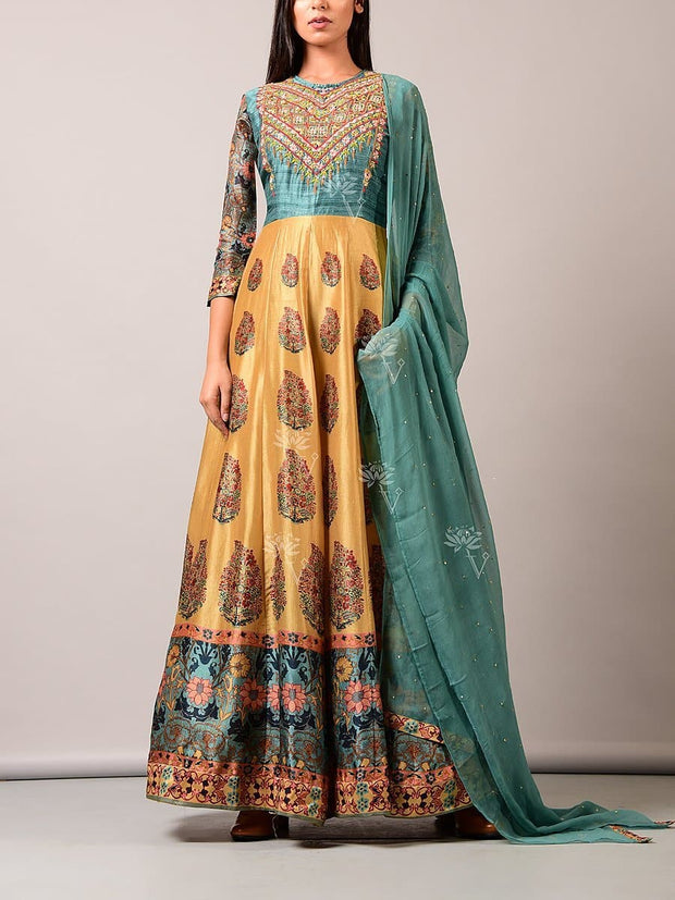 Yellow Silk Blend Anarkali Gown