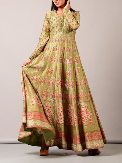 Green Silk Blend Anarkali Gown