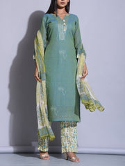 Olive Green Printed Suit Set