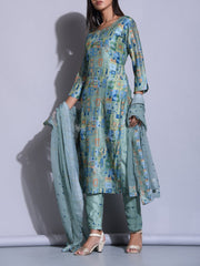 Blue Color Block Printed Suit Set