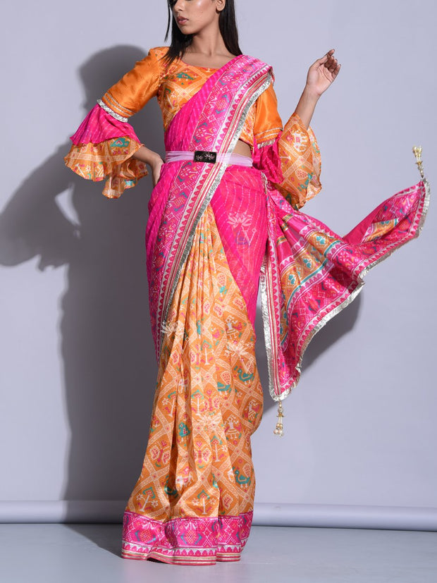 Pink And Yellow Leheriya Patola Saree