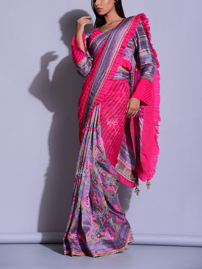 Pink Grey Leheriya Printed Saree