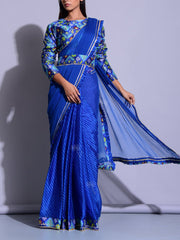 Blue Leheriya Patola Saree