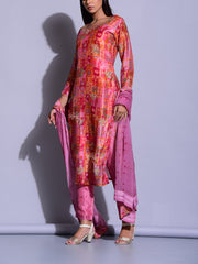 Pink Color Block Printed Suit Set