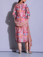 Salmon Pink Color Block Printed Suit Set