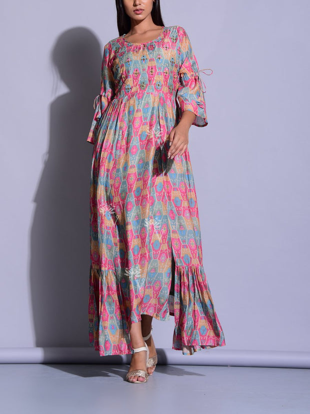Pink Color Block Printed Tunic