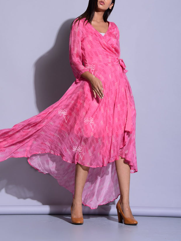 Pink Printed Asymmetric Dress