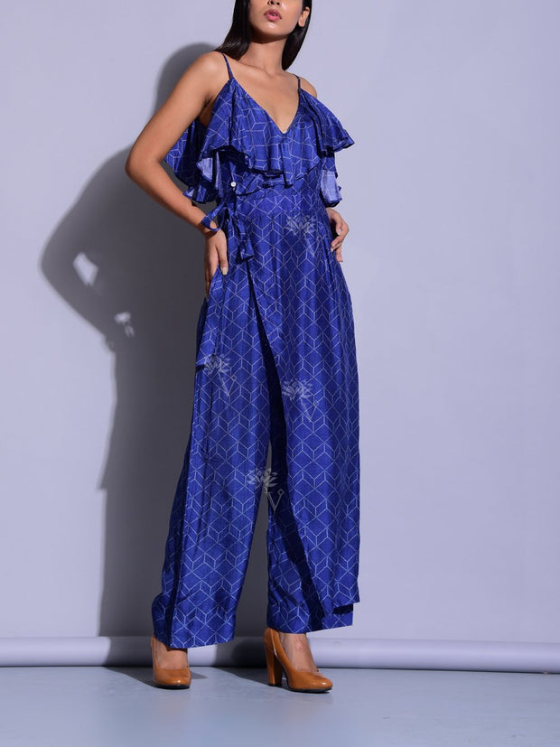 Blue Printed Wrap Jumpsuit