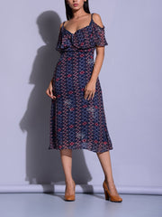 Dress, Dresses, Western, Neckline, A-Line, Skater, Fit And Flare, Midi Dress, Short Dress