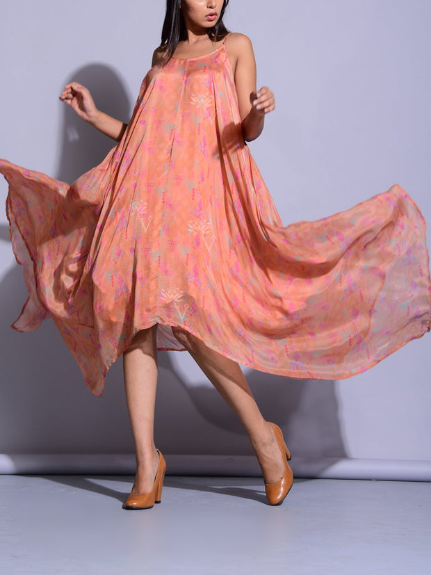 Peach Asymmetric Crepe Maxi Dress